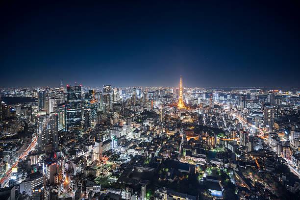 Aerial View of Downtown Tokyo at Night:スマホ壁紙(壁紙.com)