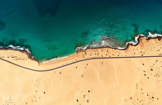 Aerial view of beach in Corralejo Park, Fuerteventura, Canary Islands:スマホ壁紙(壁紙.com)