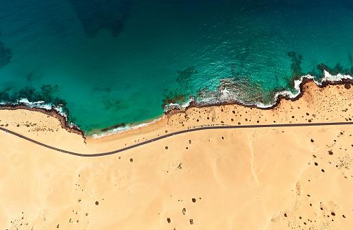 Canary Islands「Aerial view of beach in Corralejo Park, Fuerteventura, Canary Islands」:スマホ壁紙(2)
