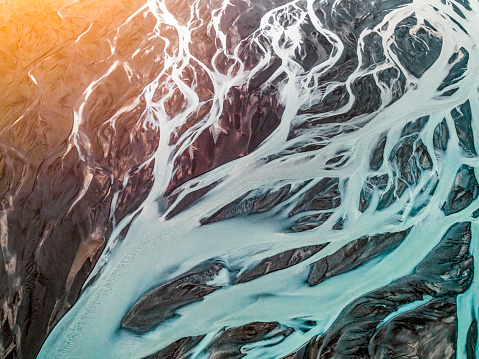 Physical Geography「Aerial view of braided river.」:スマホ壁紙(1)