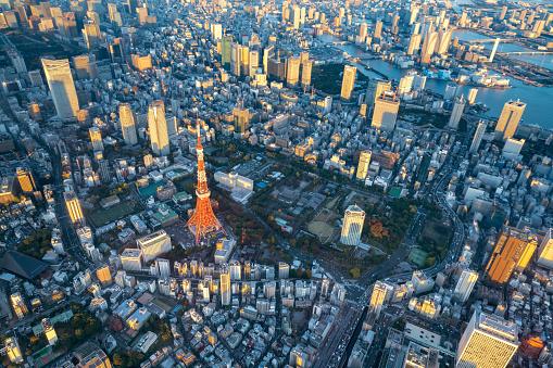 Tokyo Tower「Aerial view of Tokyo Japan Skyline」:スマホ壁紙(6)