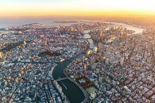 Tokyo Tower「Aerial view of Tokyo Japan Skyline」:スマホ壁紙(3)