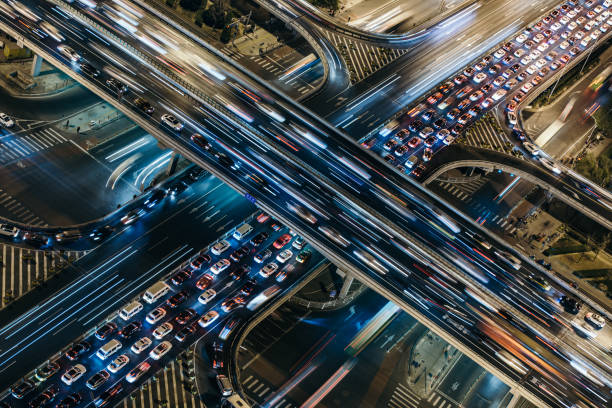Aerial View of Crowded Traffic at Night:スマホ壁紙(壁紙.com)