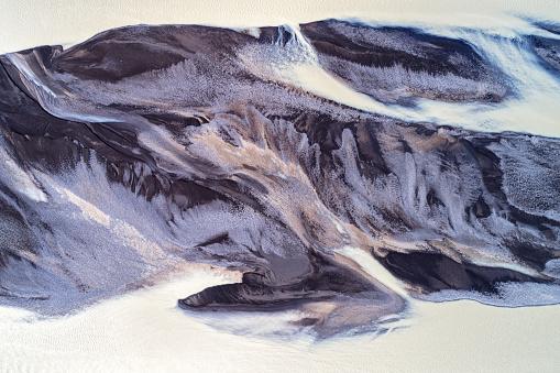 アイスランド「アイスランドにおける編組氷河河川流の空中風景」:スマホ壁紙(10)