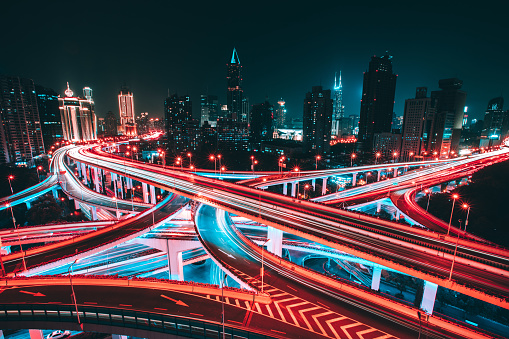 Light Trail「Aerial view of Shanghai Elevated Highway」:スマホ壁紙(16)