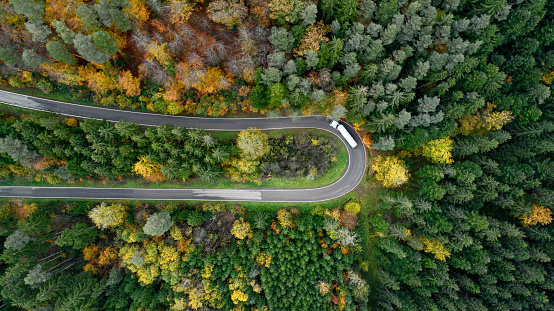 Hairpin Curve「Aerial view of winding road through a forest in autumn, Baden Württemberg,Germany」:スマホ壁紙(3)