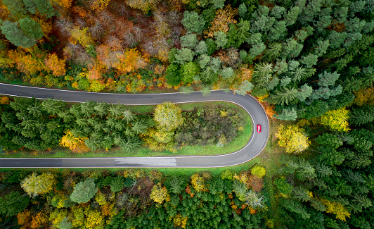 Hairpin Curve「Aerial view of winding road through a forest in autumn, Baden Württemberg,Germany」:スマホ壁紙(1)
