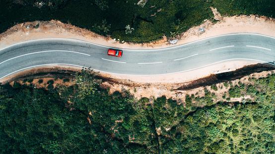Footpath「Aerial view on red car on the road near tea plantation」:スマホ壁紙(13)