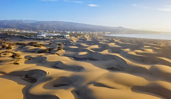 Canary「Aerial view of Maspalomas sand dunes and resort, Gran Canaria, Canary islands, Spain」:スマホ壁紙(6)