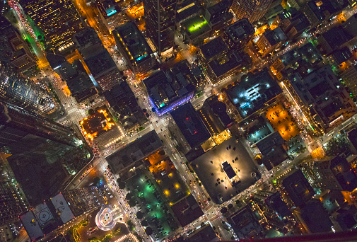 City Of Los Angeles「Aerial view of Los Angeles cityscape lit up at night, California, United States」:スマホ壁紙(19)