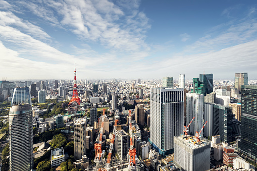 Tokyo Tower「Aerial view of Tokyo cityscape ,Japan」:スマホ壁紙(19)