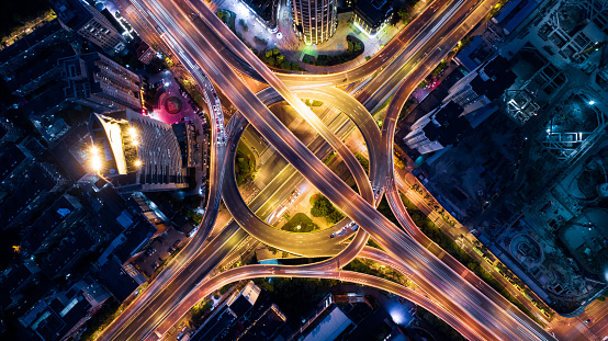 Shanghai「Aerial view of overpass at night」:スマホ壁紙(8)