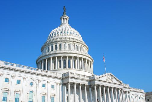 Politics「US Congress building in Washington DC and cloudless blue sky」:スマホ壁紙(11)
