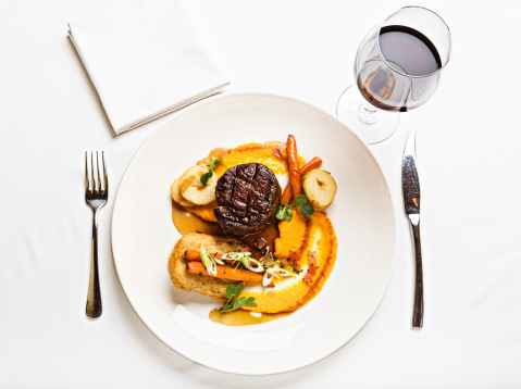 Filet Mignon「Looking down at delicious steak meal served with red wine」:スマホ壁紙(19)