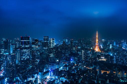 Tokyo Tower「Beautiful night scene of tokyo skyline」:スマホ壁紙(10)