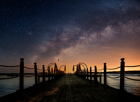 Star - Space「Beautiful night seascape with milky way in the sky and pier stretching into the ocean」:スマホ壁紙(3)