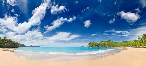 Venezuela「Tropical beach with huts, coconut trees and, deep blue sky」:スマホ壁紙(8)