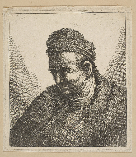 Etching「Beardless Man In Fur Cloak And Cap: Bust」:写真・画像(13)[壁紙.com]