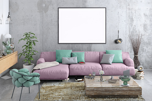Bad Condition「Modern Nordic style living room with picture frame template」:スマホ壁紙(6)