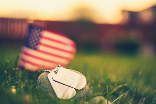 Annual Event「Memorial Day flag and dog tags in evening sunshine」:スマホ壁紙(19)