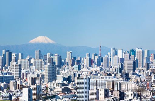 富士山「東京の街並み&富士山」:スマホ壁紙(11)