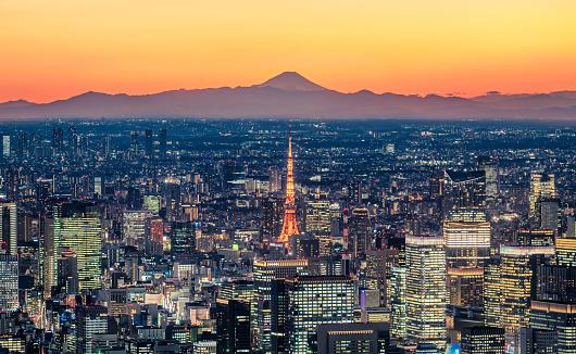 Satoyama - Scenery「Tokyo skyline at dusk with Mt.Fuji background」:スマホ壁紙(11)