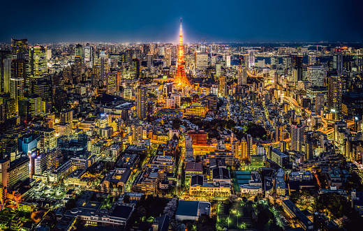 Tokyo Tower「Tokyo skyline at night, Japan」:スマホ壁紙(5)