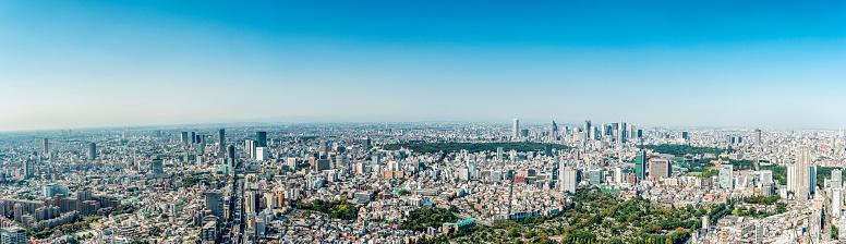 Tokyo Tower「Tokyo Skyline toward Shibuya, Shinjuku (large panorama)」:スマホ壁紙(7)