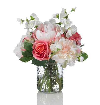 Single Flower「Peony, rose and sweetpea bouquet on a white background」:スマホ壁紙(10)