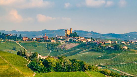 Piedmont - Italy「Serralunga d'Alba in the Langhe, a hilly area mostly based on vine cultivation and well known for the production of Barolo wine. Province of Cuneo, Piedmont, Italy」:スマホ壁紙(3)