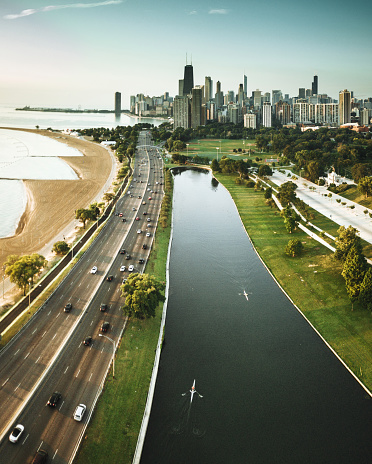 River「chicago skyline aerial view」:スマホ壁紙(0)
