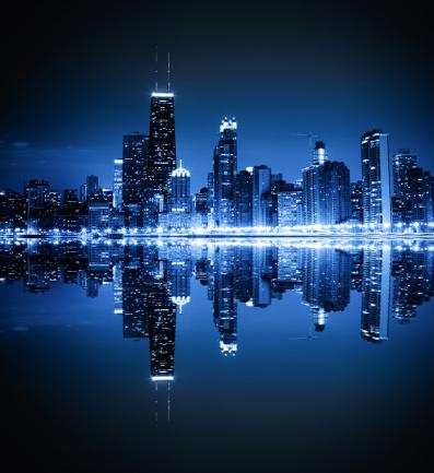 Symmetry「Chicago skyline by night」:スマホ壁紙(9)