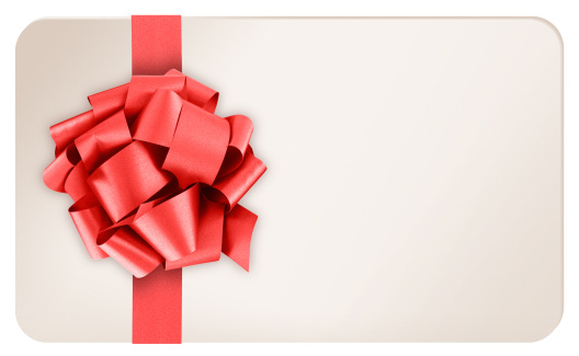 Giving「Blank Gift Card with Red Ribbon Bow on White Background」:スマホ壁紙(11)