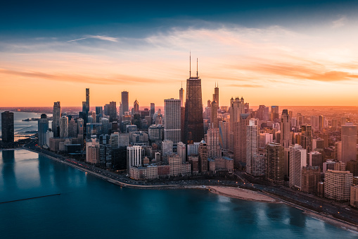 Standing Water「Dramatic Sunset - Downtown Chicago」:スマホ壁紙(8)