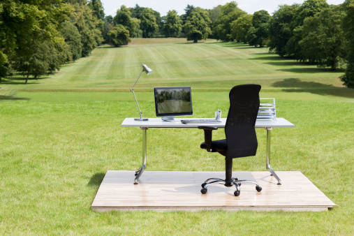 Agricultural Field「Office desk and chair outdoors in field」:スマホ壁紙(0)