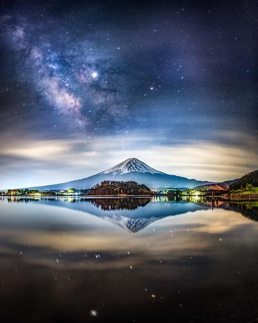富士山「河口湖に映る夜の天の川と富士山」:スマホ壁紙(13)