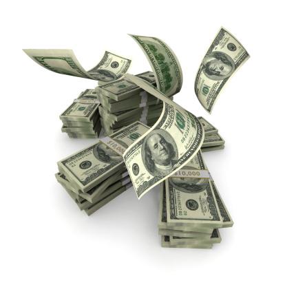 American One Hundred Dollar Bill「Hundreds Falling onto Money Stack」:スマホ壁紙(14)