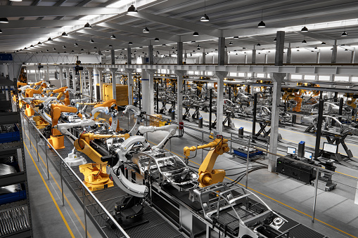 Machine Part「Cars on production line in factory」:スマホ壁紙(6)