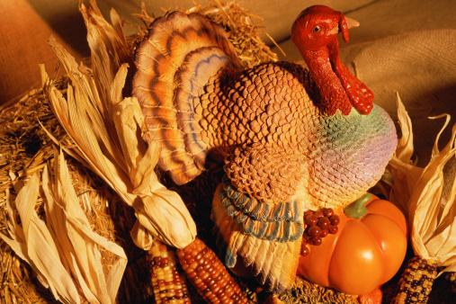 Turkey - Bird「Ceramic turkey surrounded by harvest vegetables」:スマホ壁紙(3)