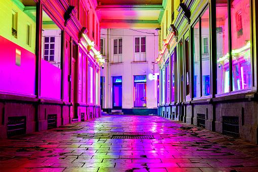Belgium「Glass Alley illuminated at night, Red light district, Ghent, Belgium」:スマホ壁紙(12)