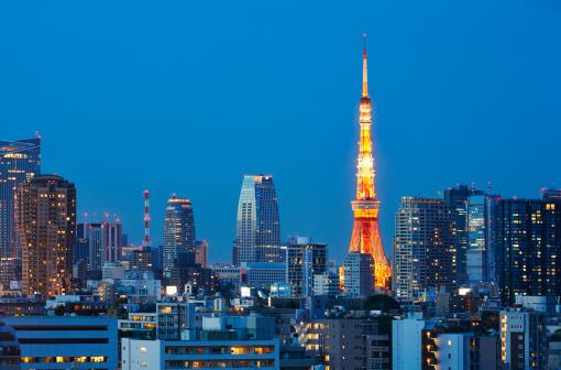 Tokyo Tower「Tokyo Tower and skyline at dusk, Tokyo, Japan」:スマホ壁紙(14)
