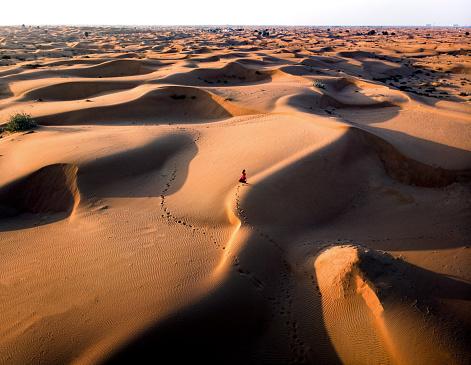1人「砂漠の上空を歩く婦人」:スマホ壁紙(17)