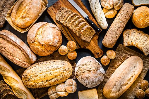 Sourdough Bread「Breads assortment background」:スマホ壁紙(19)