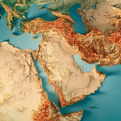 Iran「Middle East 3D Render Topographic Map Color」:スマホ壁紙(17)