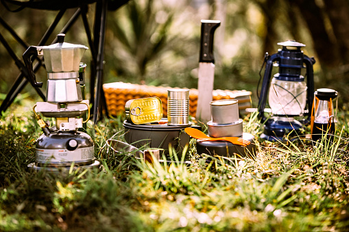 Machete「Travel equipment and accessories for camping on rustic floor.」:スマホ壁紙(14)