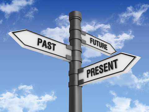 The Past「Directional Sign with Past Future Present Words」:スマホ壁紙(10)