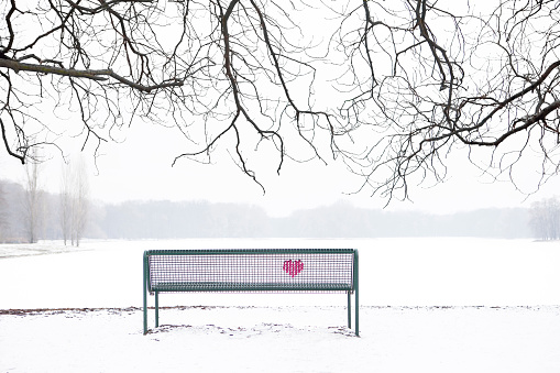 Heart「Embroidered heart at bench in winter landscape」:スマホ壁紙(0)