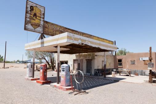 Garage「Abandoned Gas Station on Route 66, Desert」:スマホ壁紙(15)