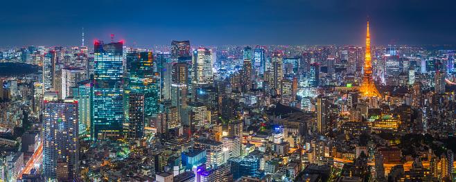 Tokyo Tower「Tokyo glittering neon night Tokyo Tower skyscapers aerial panorama Japan」:スマホ壁紙(1)