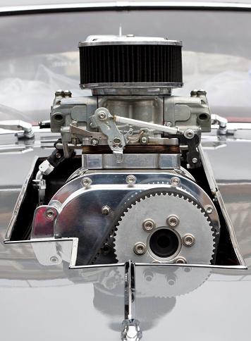 Hot Rod Car「Front view of Chrome Supercharger car engine Hot Rod」:スマホ壁紙(16)